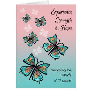 Tarjeta Año mariposa limpia y sobria de 17 de 12 pasos del