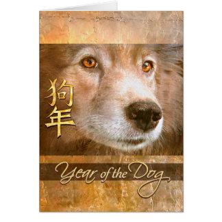 Tarjeta Año Nuevo chino de los ojos de oro del perro