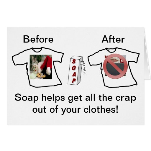 Tarjeta anti divertida del jabón de Santa del navi