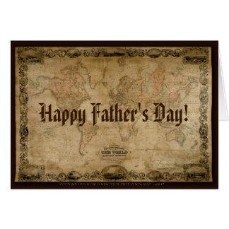 Tarjeta antigua del día de padre del mapa de