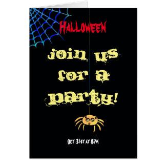 Tarjeta Araña colgante Halloween