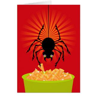 Tarjeta Araña divertida de Halloween que roba las