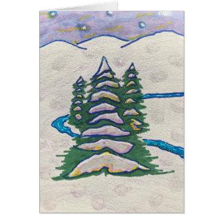 Tarjeta Árbol de hoja perenne y escena de la nieve del