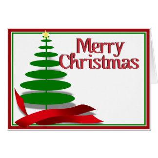 Tarjeta Árbol de navidad con la cinta roja