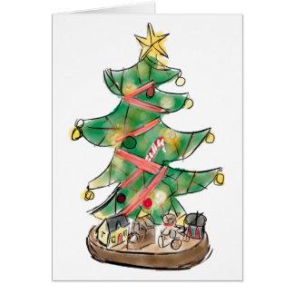 Tarjeta Árbol de navidad con los juguetes