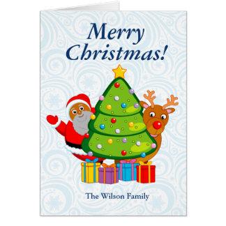 Tarjeta Árbol de navidad con Papá Noel y Rudolph negros,
