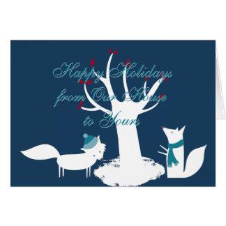 Tarjeta Árbol de navidad de los zorros de nuestra casa el