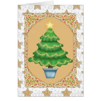 Tarjeta Árbol de navidad del pan de jengibre