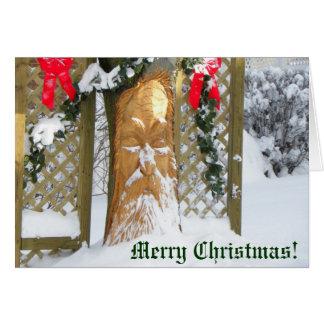 Tarjeta Árbol de navidad del viejo hombre