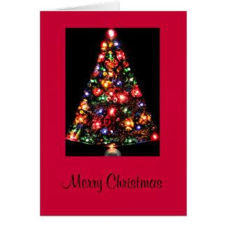 Tarjeta Árbol de navidad encendido