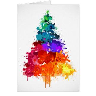 Tarjeta Árbol de navidad, pintura, colores primarios