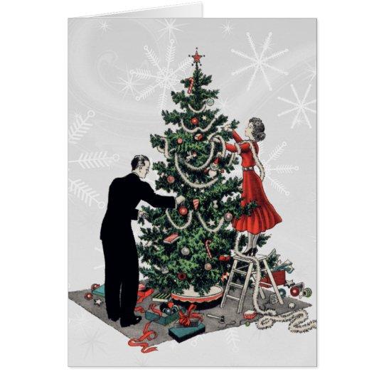 Tarjeta Árbol de navidad retro