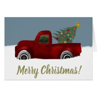 Tarjeta Árbol de navidad retro del camión del vintage rojo