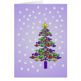 Tarjeta Árbol de navidad y nieve de la flor de lis