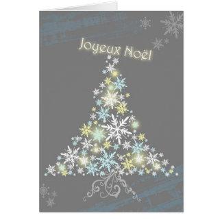 Tarjeta Árbol glamoroso Joyeux Noel del copo de nieve del