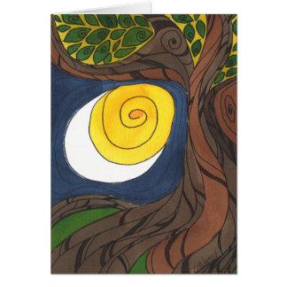 Tarjeta Árbol Gnarly y Sun/luna, Notecard