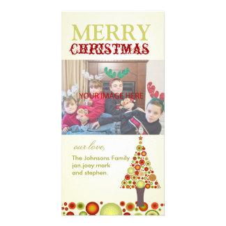 Tarjeta Árbol retro de los ornamentos del navidad de