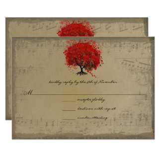 Tarjeta Árbol rojo de la hoja del corazón del oro musical
