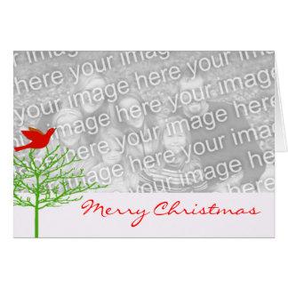 Tarjeta Árbol rojo del verde del pájaro del navidad su