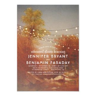 Tarjeta Árboles de la caída y cena del ensayo de las luces