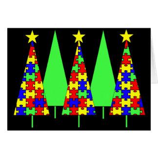 Tarjeta Árboles de navidad del rompecabezas - conciencia