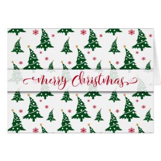 Tarjeta Árboles de navidad verdes y modelo rojo de los