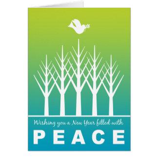 Tarjeta Árboles del invierno de la paloma de la paz de la