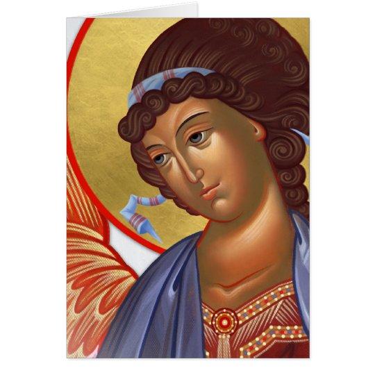 Tarjeta Arcángel Gabriel con Cristo y la madre de dios
