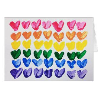 Tarjeta Arco iris del amor - corazones pintados a mano