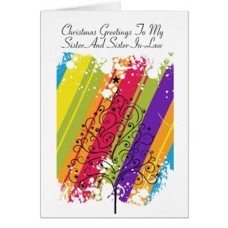 Tarjeta Arco iris del árbol de navidad