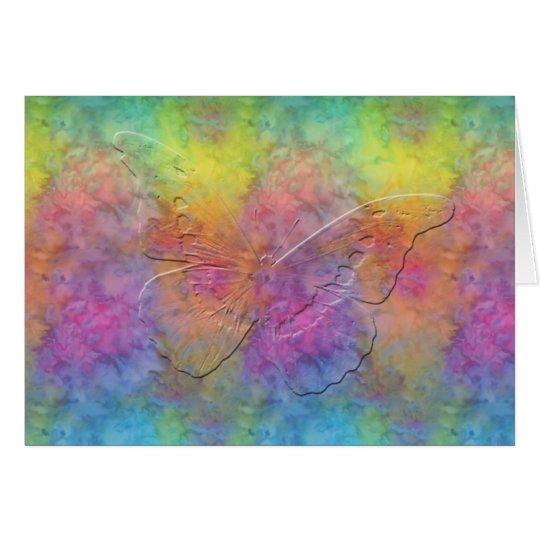 Tarjeta [Arco iris Frost] mariposa del teñido anudado -