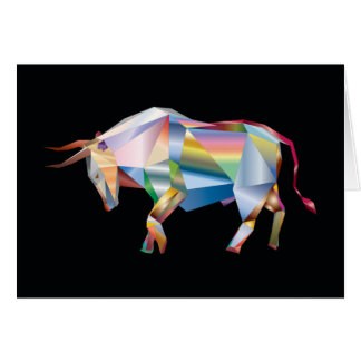 Tarjeta Arco iris geométrico de la vaca del rancho de Bull