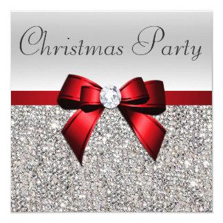 Tarjeta Arco rojo del diamante de la fiesta de Navidad de
