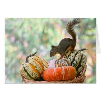 Tarjeta Ardilla de la cosecha del otoño