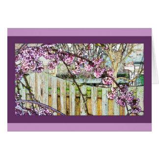Tarjeta arqueada de la rama de la flor de cerezo