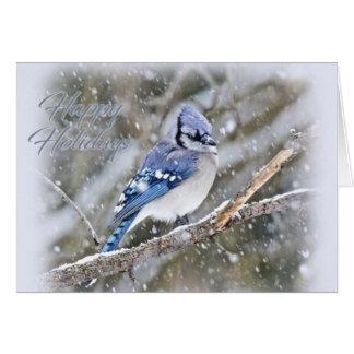 Tarjeta Arrendajo azul en día de fiesta del navidad de la