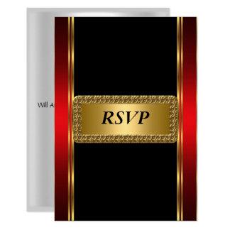 Tarjeta Art déco negro rojo RSVP del oro