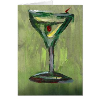 Tarjeta arte abstracto verde de la barra del cóctel de la