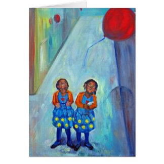 Tarjeta arte afroamericano de los globos de los niños de