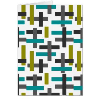 Tarjeta Arte azul, verde, gris retro