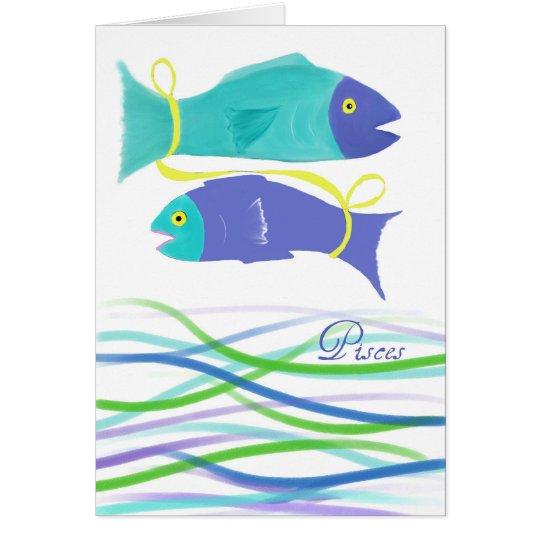 Tarjeta Arte Cumpleaños-Colorido de los pescados de los