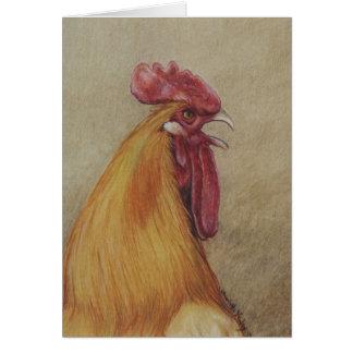 Tarjeta Arte de cacareo Notecard del pájaro del gallo