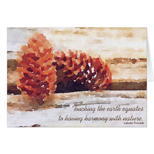 Tarjeta Arte de Digitaces de los conos del pino de la