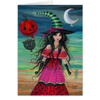 Tarjeta Arte de la fantasía de Halloween de la bruja del