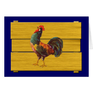 Tarjeta Arte del cajón de la cocina del vintage del gallo