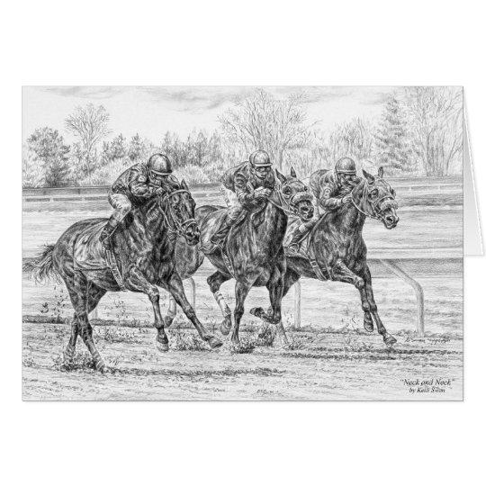Tarjeta arte del cuello de n de caballos del cuello de