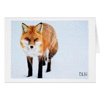 Tarjeta Arte del Fox rojo/de la fauna/mirada de la