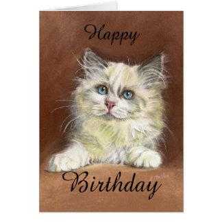 Tarjeta Arte del gatito de Ragdoll del feliz cumpleaños