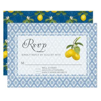 Tarjeta Arte floral del enrejado rústico del limón de la
