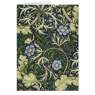 Tarjeta Arte floral del vintage del modelo de la alga